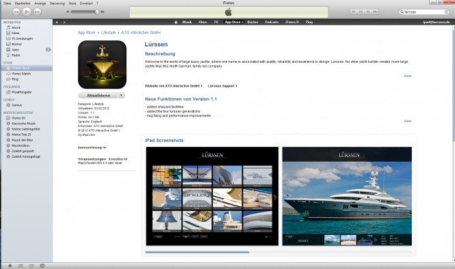 Lürssen apps available for free download at the App Store