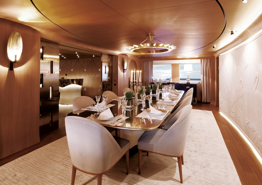 Luxury motor yacht Numptia - Dining Room — Luxury Yacht Charter ...