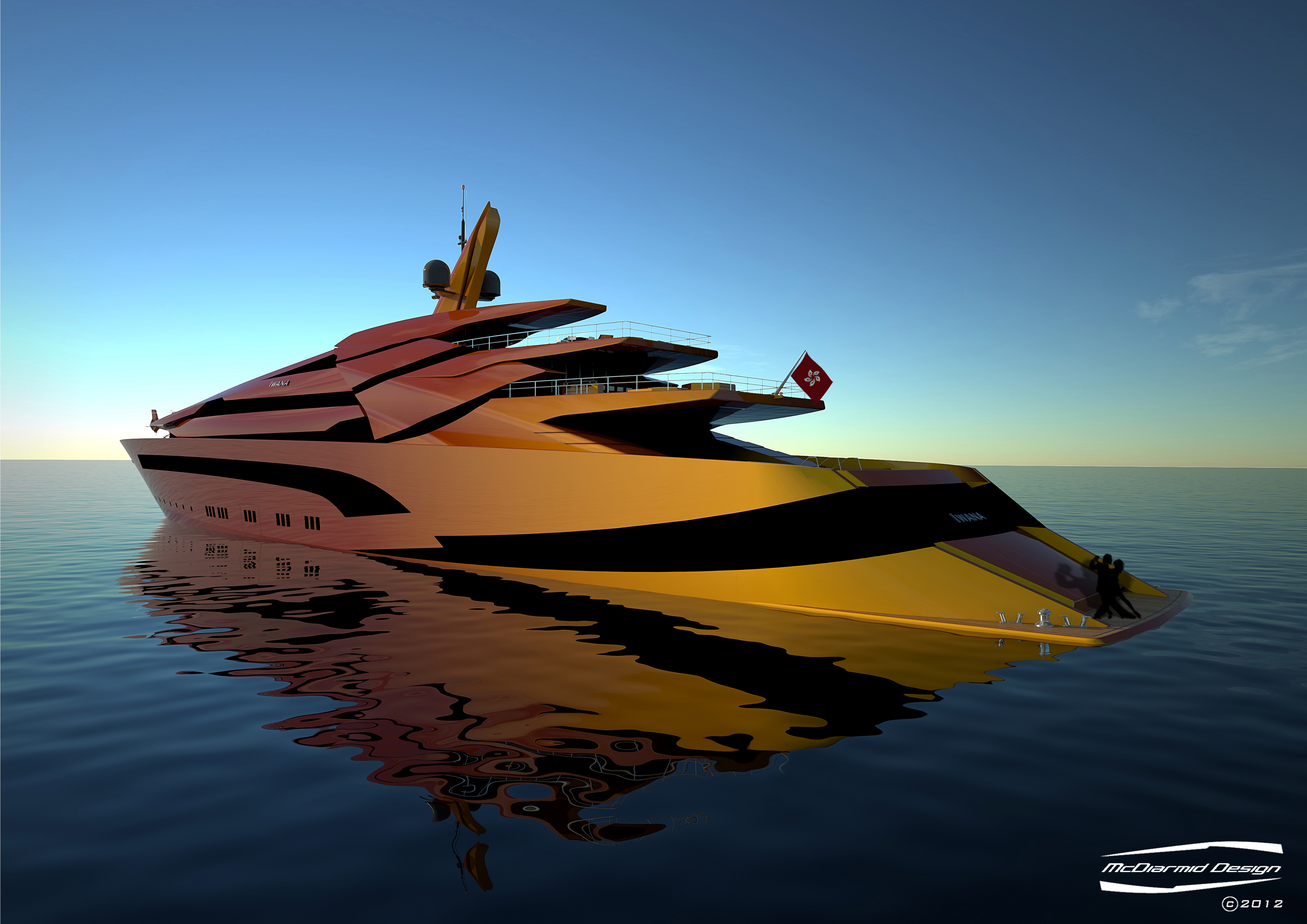 McDiarmid designed 87m luxury yacht Iwana - rear view