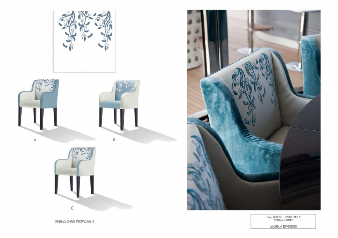 Motor Yacht Quinta Essentia - Dining chairs designed by Michela Reverberi