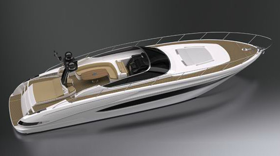 The luxury yacht Riva 63´ Virtus is the largest open boat created by the ...