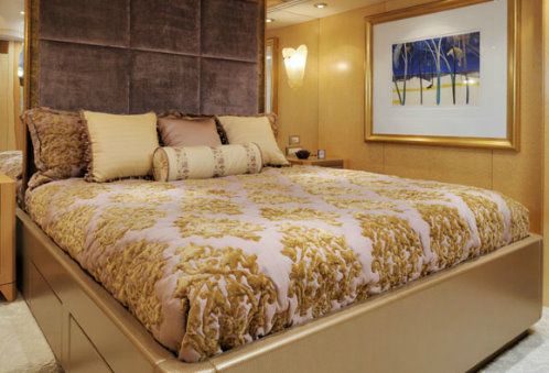 One of the stateroom cabins on board the Obsession Superyacht