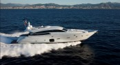 Pershing 92� motor yacht on display at the Ferretti Group stand at the Miami Yacht and Brokerage show