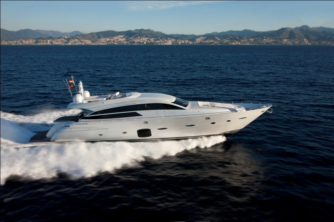 Pershing 92' motor yacht on display at the Ferretti Group stand at the Miami ...