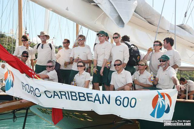 RORC Caribbean 600, 2012. Hetairos' crew after finishing on Wednesday 22nd February - Tim Wright/Photoaction