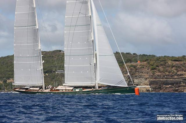 RORC Caribbean 600, 2012. Sailing yacht Hetairos finishes on Wednesday 22nd February. Photo CreditTim Wright/Photoaction