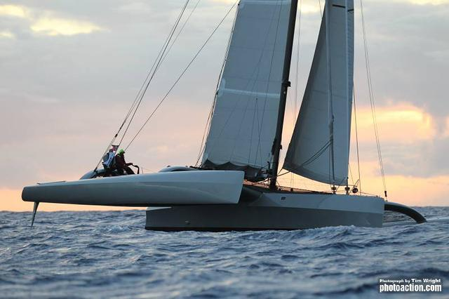 RORC Caribbean 600, 2012. Trimaran Paradox approaching the finish on Wednesday 22nd February - Credit Tim Wright/Photoaction