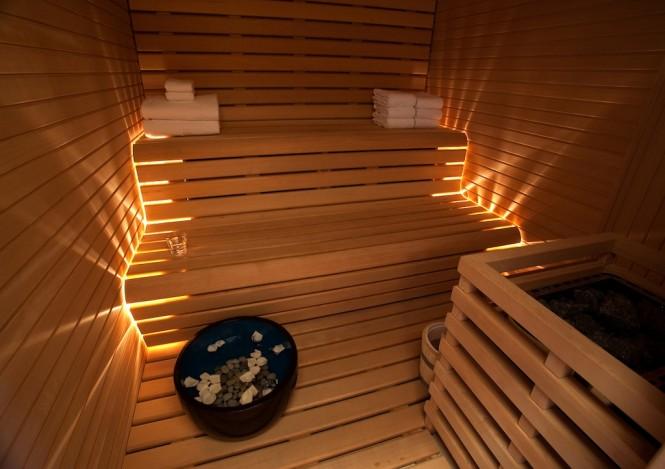 Relaxing sauna aboard luxury yacht Numptia