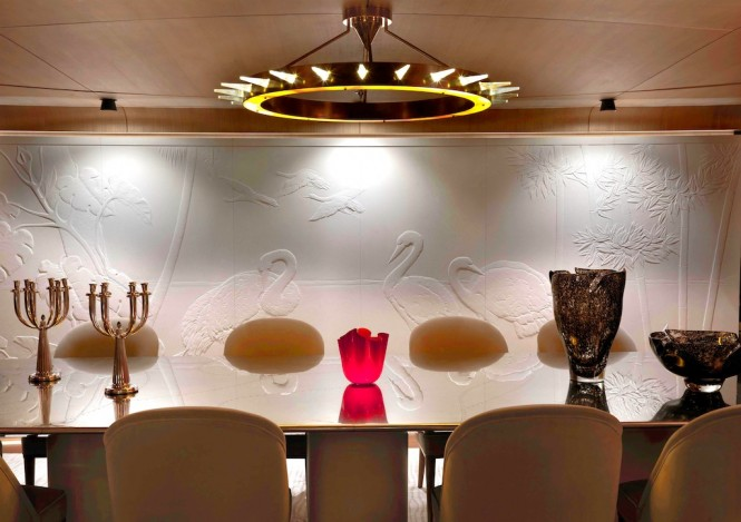 Superyacht Numptia with interior by Salvagni Architetti - Dining Room Wall