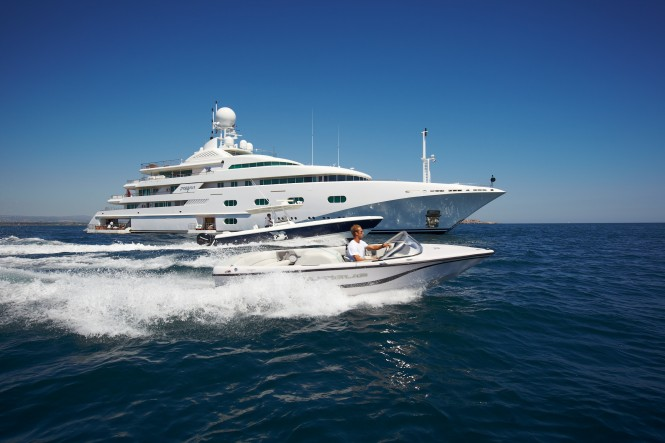 Superyacht PEGASUS V (ex PRINCESS MARIANA) -  Main Shot Running with tender