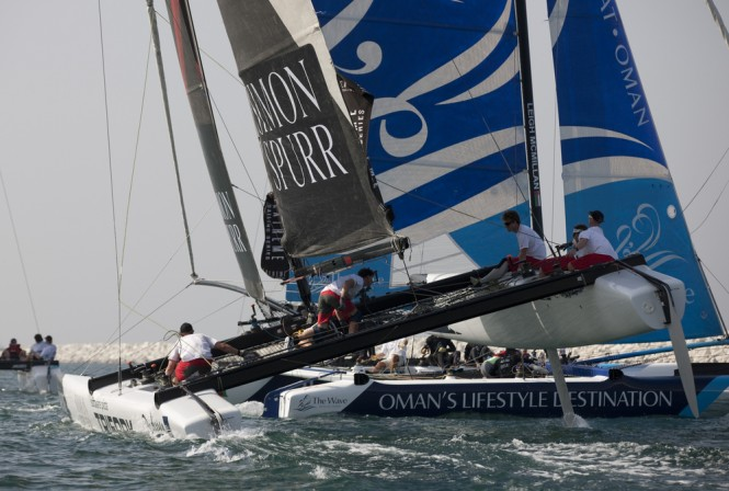 Team Trifork flying a hull during racing - Image credit to Lloyds Images