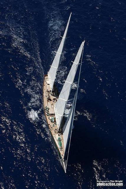 The 214ft Baltic Custom sailing yacht Hetairos - the largest yacht in the fleet - Credit Tim Wright photoaction