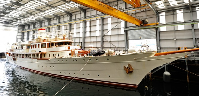 The 71m luxury charter yacht Dona Amelia before her refit at Pendennis