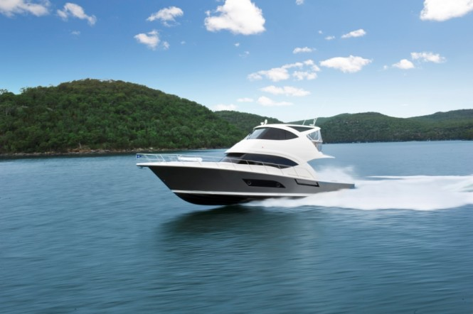 The Miami debut of the new Riviera 53 Flybridge yacht with full beam master ...
