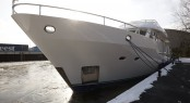 The Moonen 72 motor yacht SJS (ex Lady Jalinka) at the yard in ´s-Hertogenbosch