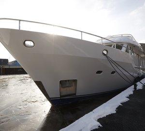 Moonen 72 motor yacht SJS (ex Lady Jalinka) and Moonen 84 Aurora superyacht being refitted at Moonen Refits