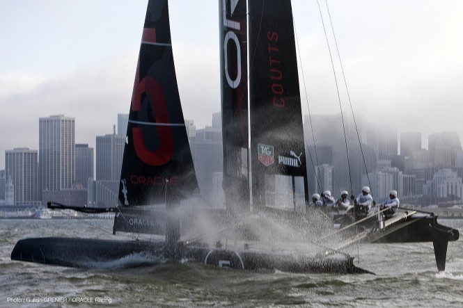 The ORACLE team racing on their catamaran yacht AC45