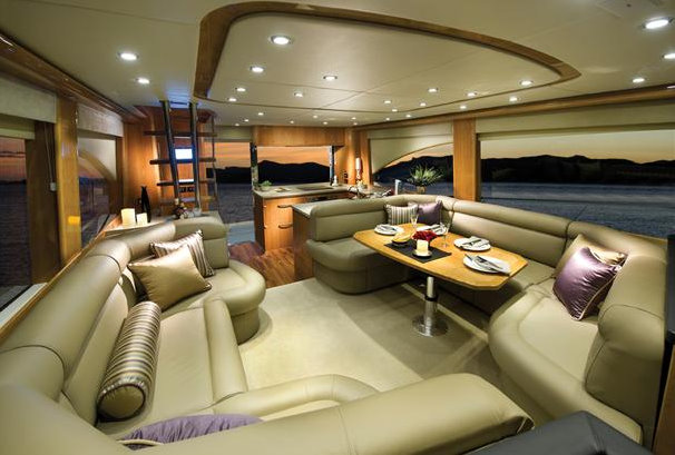The Riviera 53 Flybridge Yacht Saloon Aft