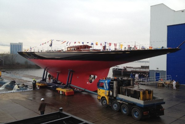 The launch of the J-class superyacht Rainbow
