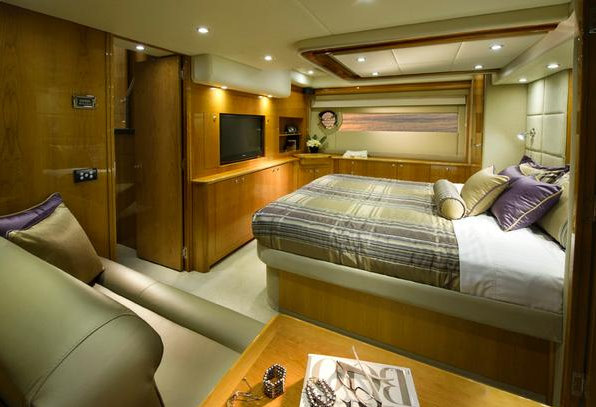 The luxury yacht 53 Flybridge Master Stateroom