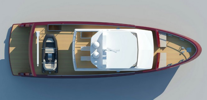 The luxury yacht Bering 24 - view from above