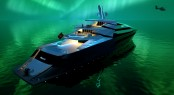 The luxury yacht Iwana under the Aurora Borealis
