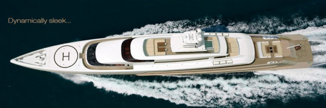 The luxury yacht Smeralda - view from above