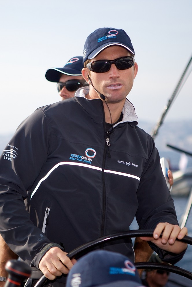 The sailing hero Ben Ainslie on board the GBR75 yacht Teamorigin