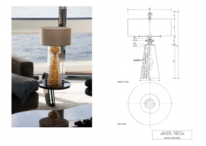 Upper Saloon Table Lamps custom designed by Michela Reverberi - Quinta Essentia Motor Yacht