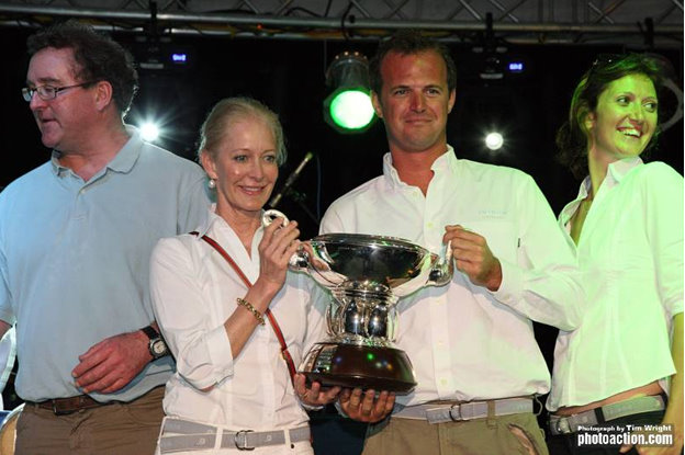 Wendy Schmidt, owner of Swan 80 yacht Team Selene and skipper Benjamin Davitt proudly hold the Swan Caribbean Challenge Trophy for Best Swan in IRC Overall. They were also 3rd in IRC Zero  Credit: Tim Wright/Photoaction