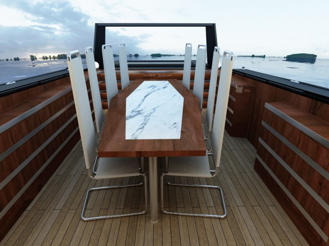 2PO Designed MEES 37 luxury boat - seating area - uncovered