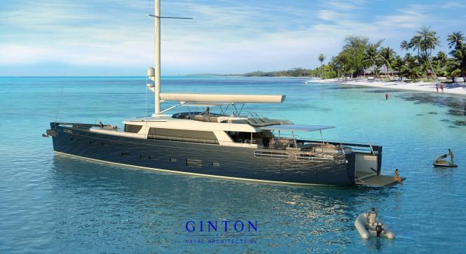 40m sailing yacht Extreme at anchor