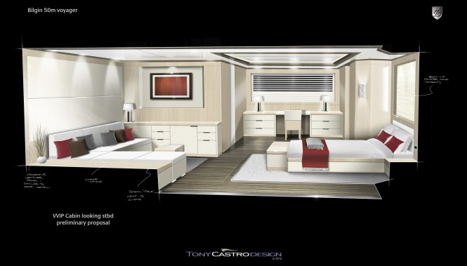 52m Tony Castro and Bilgin Yachts superyacht Voyager 170 - VIP Cabin