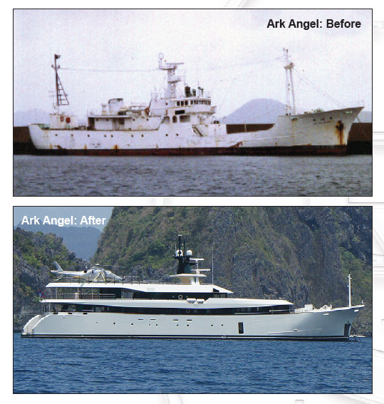 55m motor yacht Ark Angel (ex Galapagos) before and after her refit by HYS Yachts
