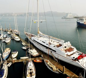 The World´s Largest Sailing Yacht M5 (ex MIRABELLA V) arrives at Pendennis for a one-year refit