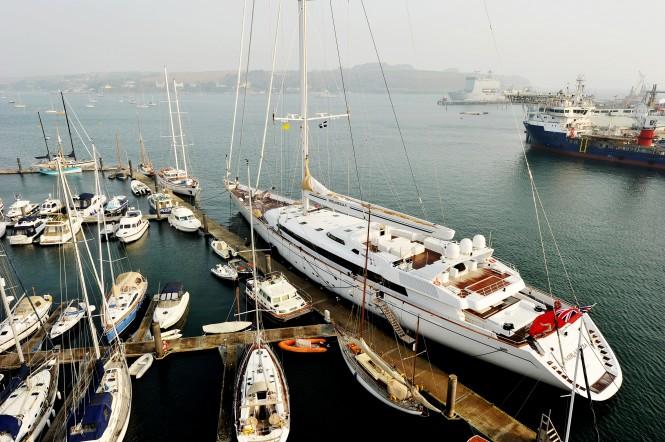 75.2m sailing yacht Mirabella V at Pendennis in Falmouth