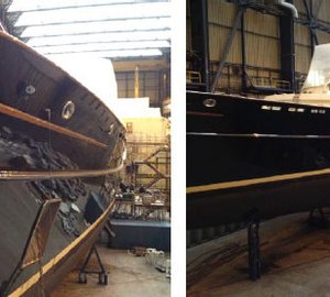 Refit of the 93m megayacht EOS and the 40m superyacht BE MINE by Royal Huisman almost completed