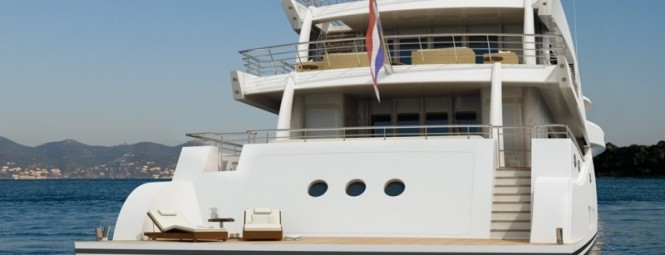 Amels 199 Superyacht Low Swim Platform and Large Transom Door