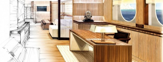 Amels 199 Superyacht Owners office for business or communication