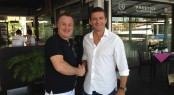 Cantiere delle Marche�s Sales and Marketing Director Vasco Buonpensiere, left, and Lee Marine�s Managing Director Josh Lee shake hands in Phuket on the new relationship.