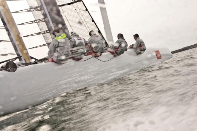 China Team on the sailing yacht AC45 Credit G. Martin-Raget