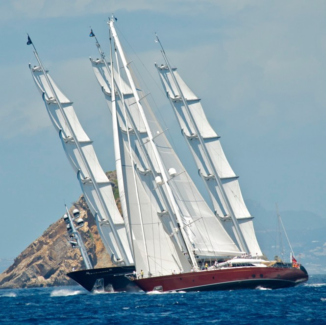 Helios and The Maltese Falcon superyachts at the Bucket