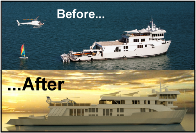 Luxury motor yacht SuRi - before and after
