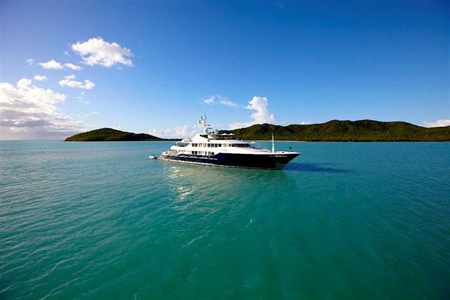 Luxury motor yacht UNBRIDLED at anchor