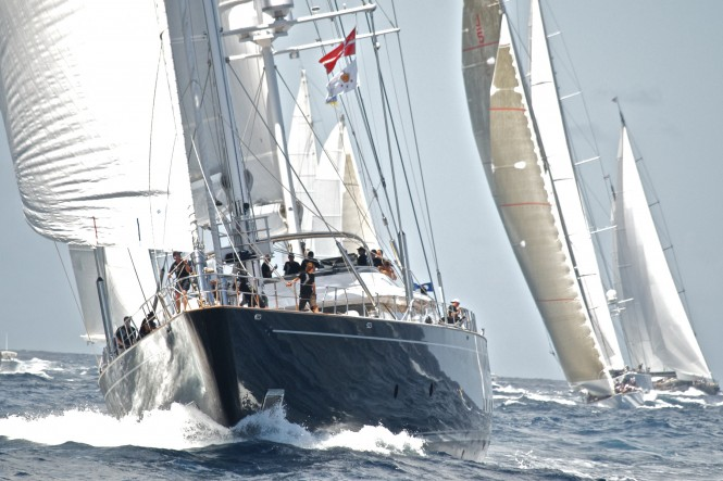 Luxury sailing yacht Parsifal III at the St Barth's Bucket Regatta