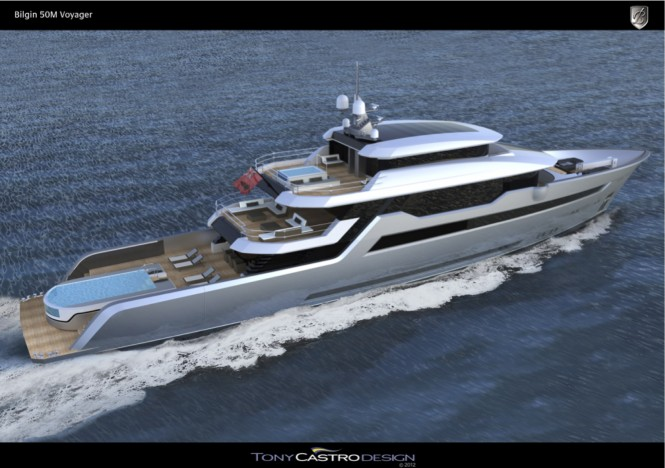 Motor Yacht Voyager 170' - a 52m Bilgin Superyacht - aft view running