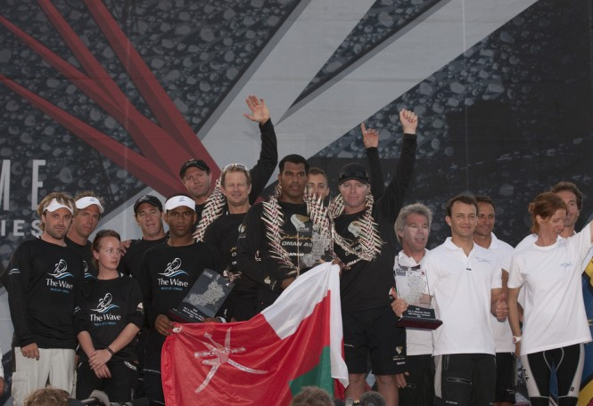 Oman Air at the top of the podium for the prizegiving Credit Lloyd Images