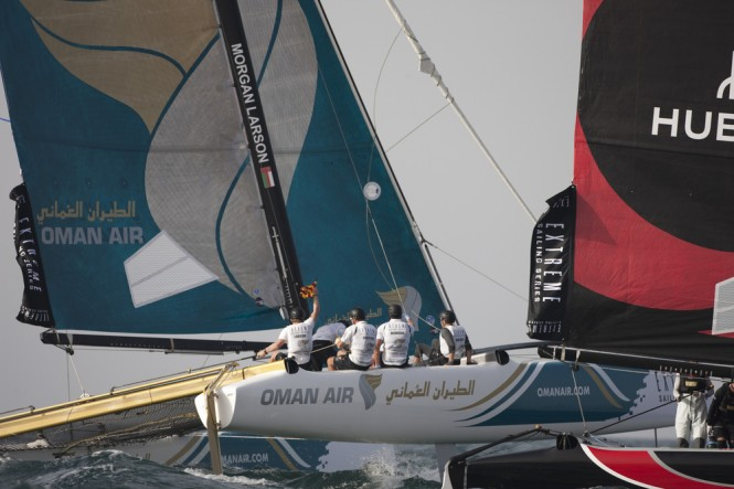 Oman Air protesting during a race on day 3  - Credit Lloyds Images