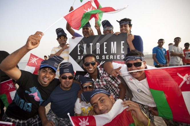Omani fans celebrate their teams first and second places for Act 1 Credit Lloyd Images