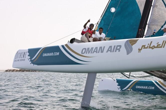 Omani footballer, Saad al-Mukhaini enjoying the ride on Oman Air on day 3 - Credi Lloyds Images